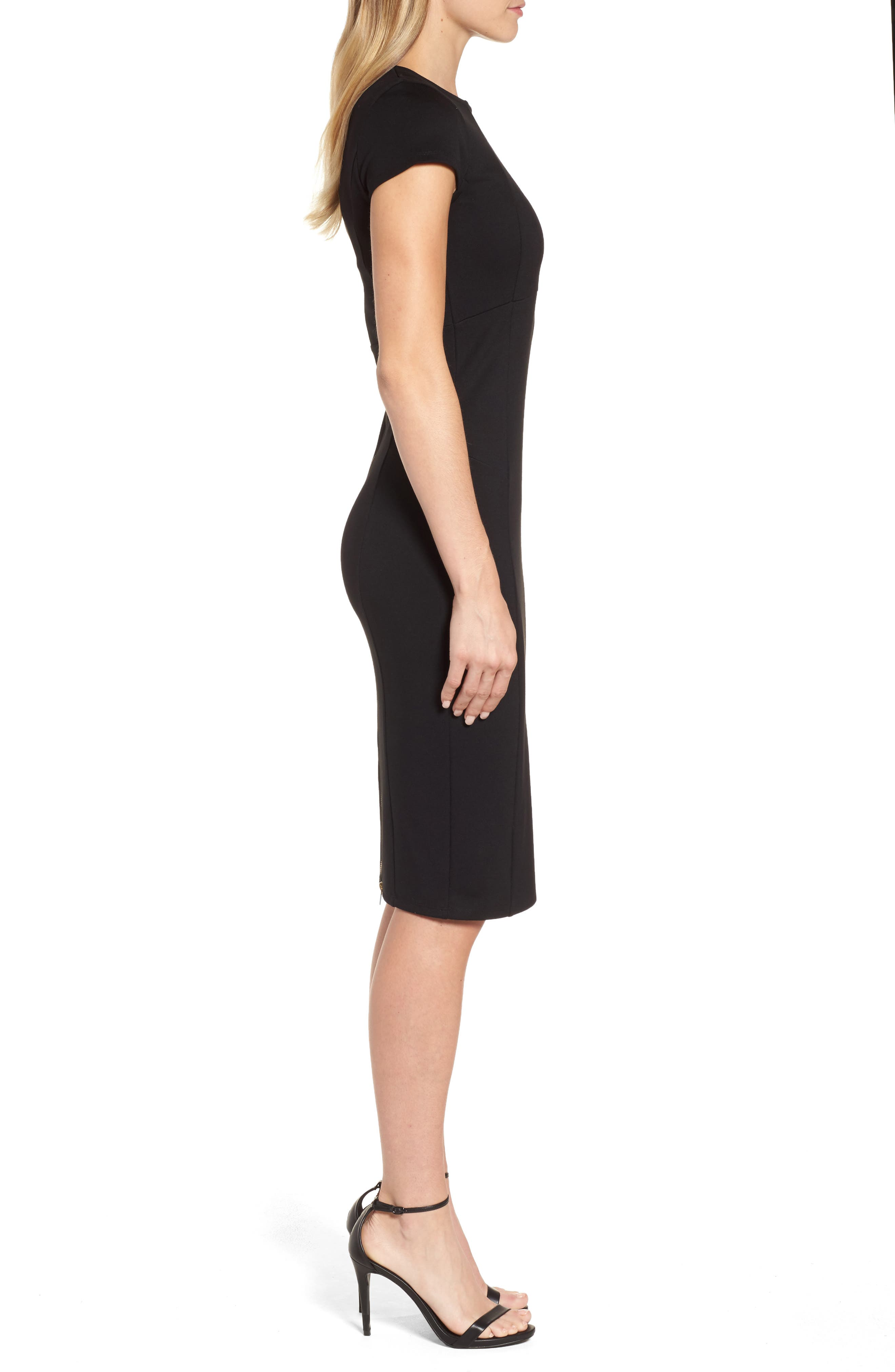,                             Ward Seamed Pencil Dress,                             Alternate thumbnail 4, color,                             001