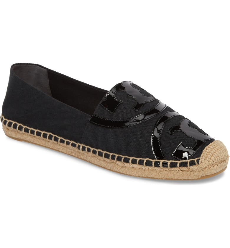 TORY BURCH Poppy Logo Espadrille Flat, Main, color, BLACK/ BLACK