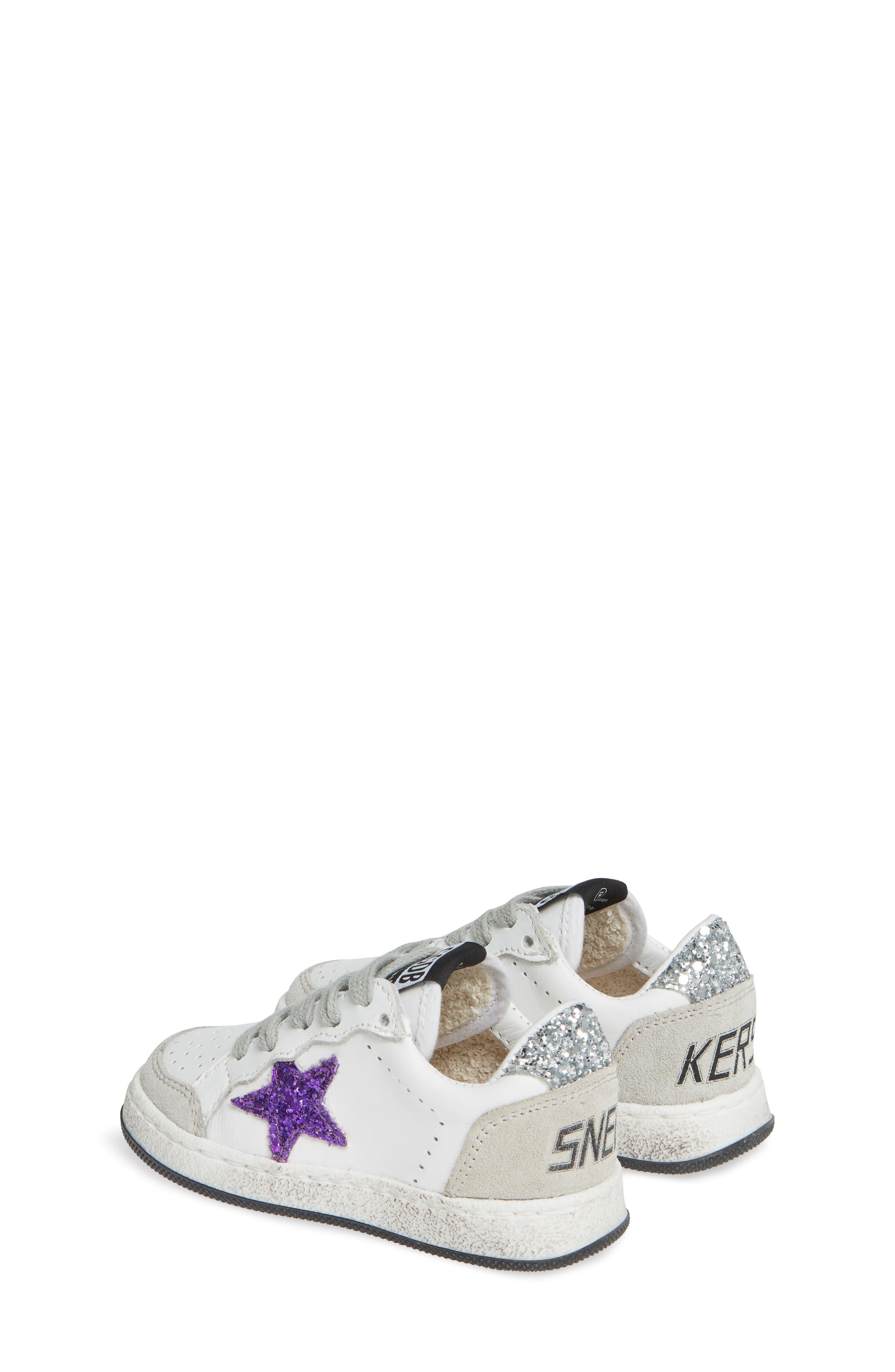 ,                             Ball Star Glitter Sneaker,                             Alternate thumbnail 3, color,                             WHITE LEATHER/ PURPLE GLITTER