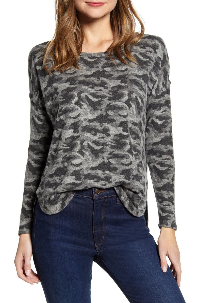 BOBEAU Rib Long Sleeve Fuzzy Top, Main, color, CAMO BLACK