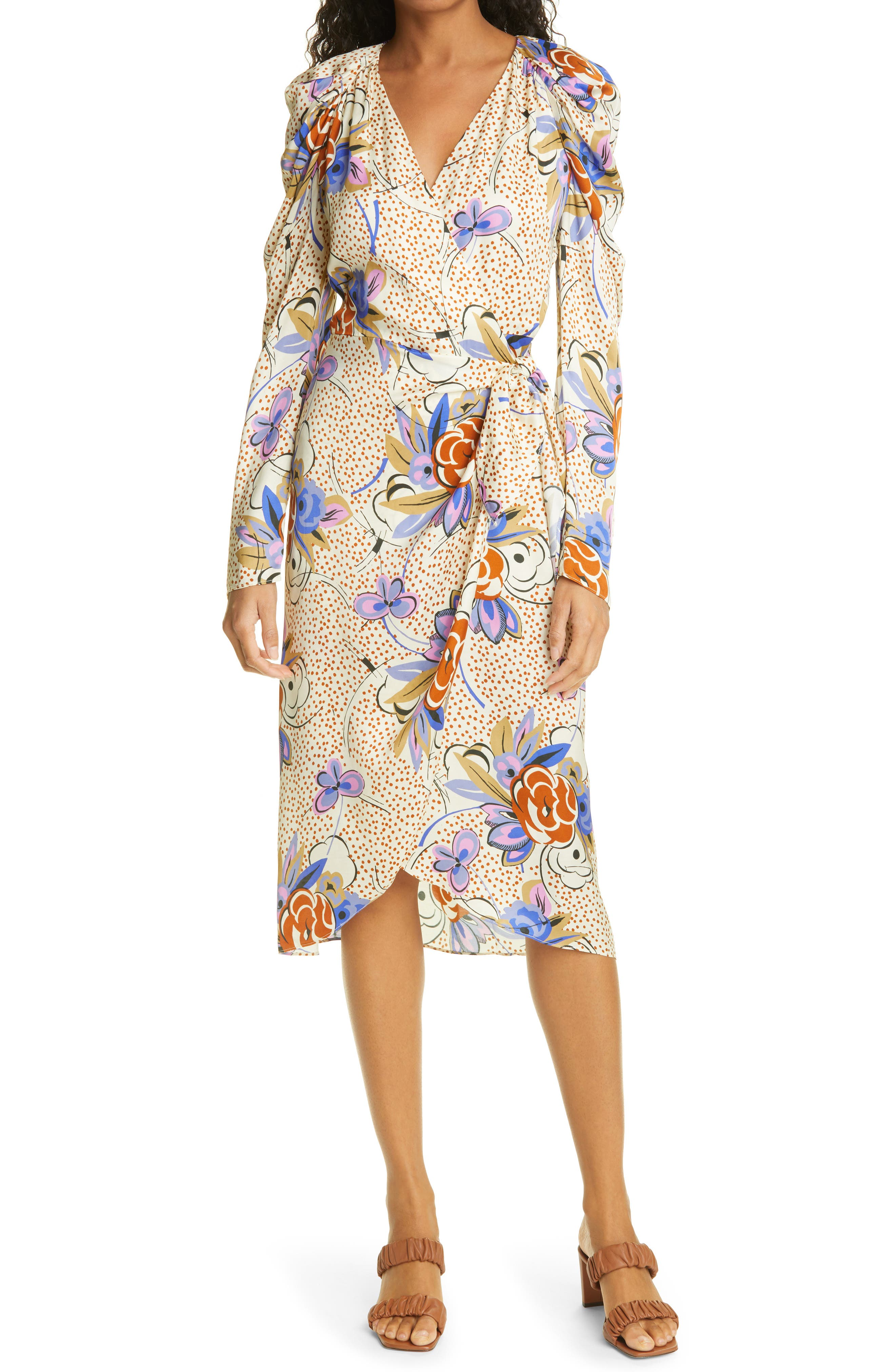 Floral Dot Long Sleeve Wrap Dress