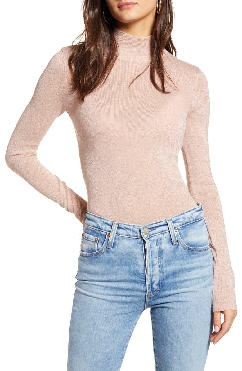 VERO MODA Johanna Mock Neck Sweater, Main, color, ROSE DUST