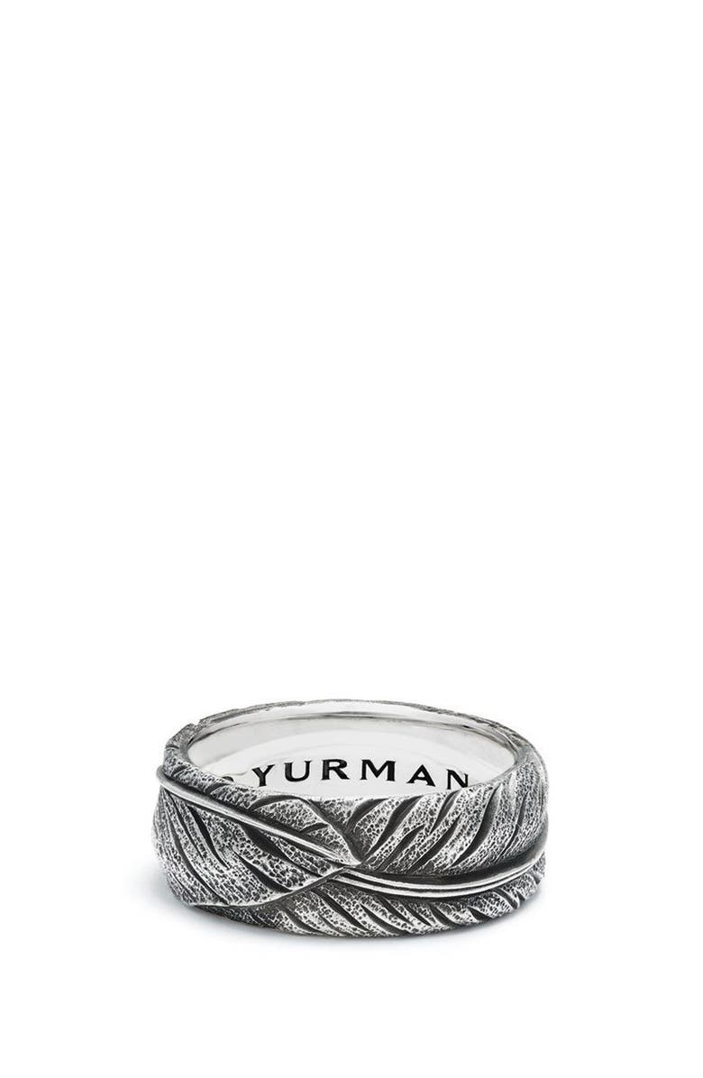 DAVID YURMAN Southwest Narrow Feather Band Ring, Main, color, SILVER