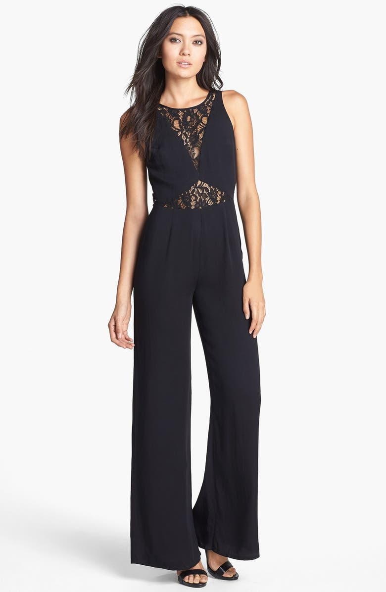 LIKE MYNDED Lace Inset Jumpsuit, Main, color, 001
