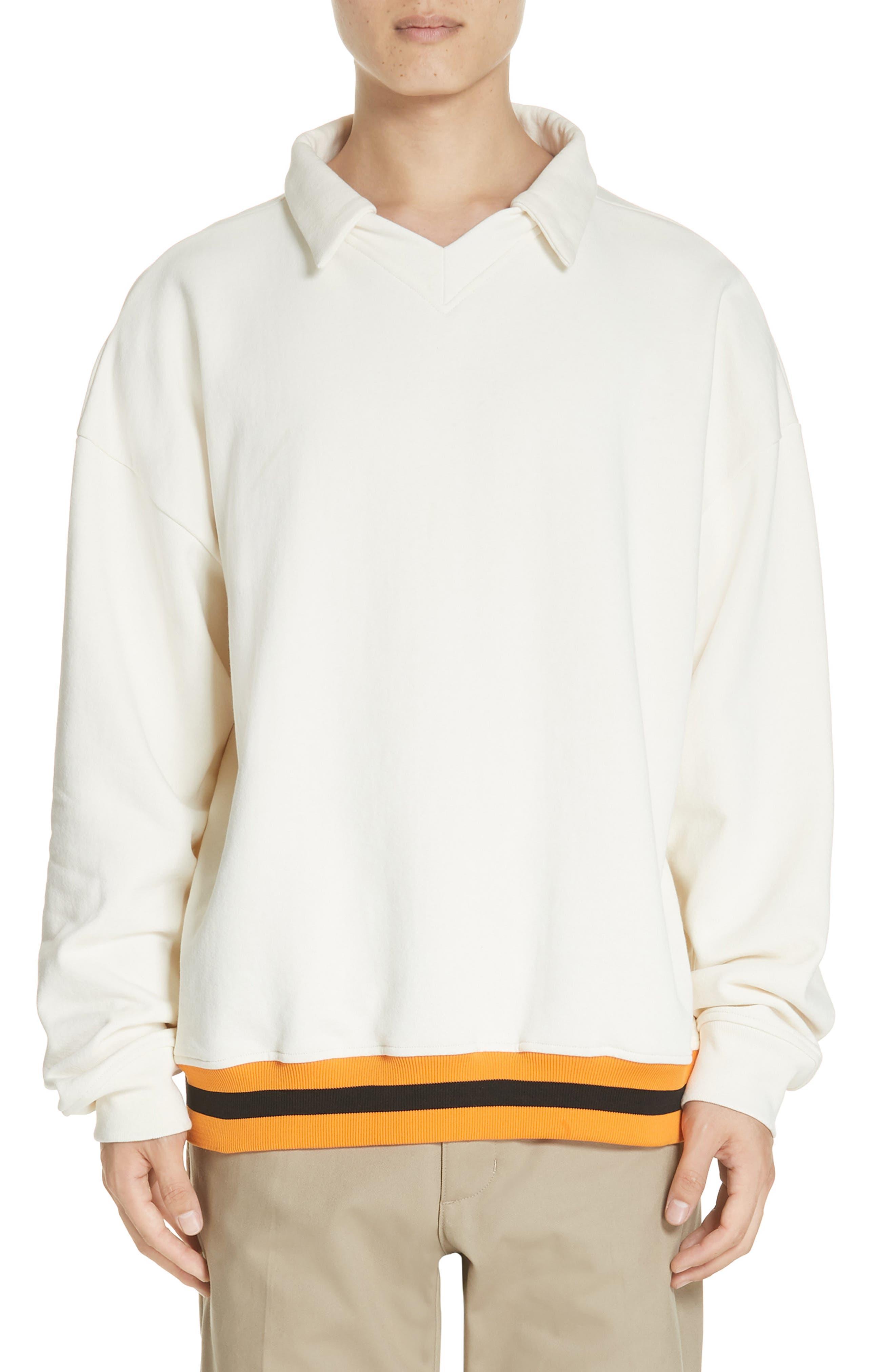,                             Study Sweatshirt Polo,                             Main thumbnail 1, color,                             CREAM