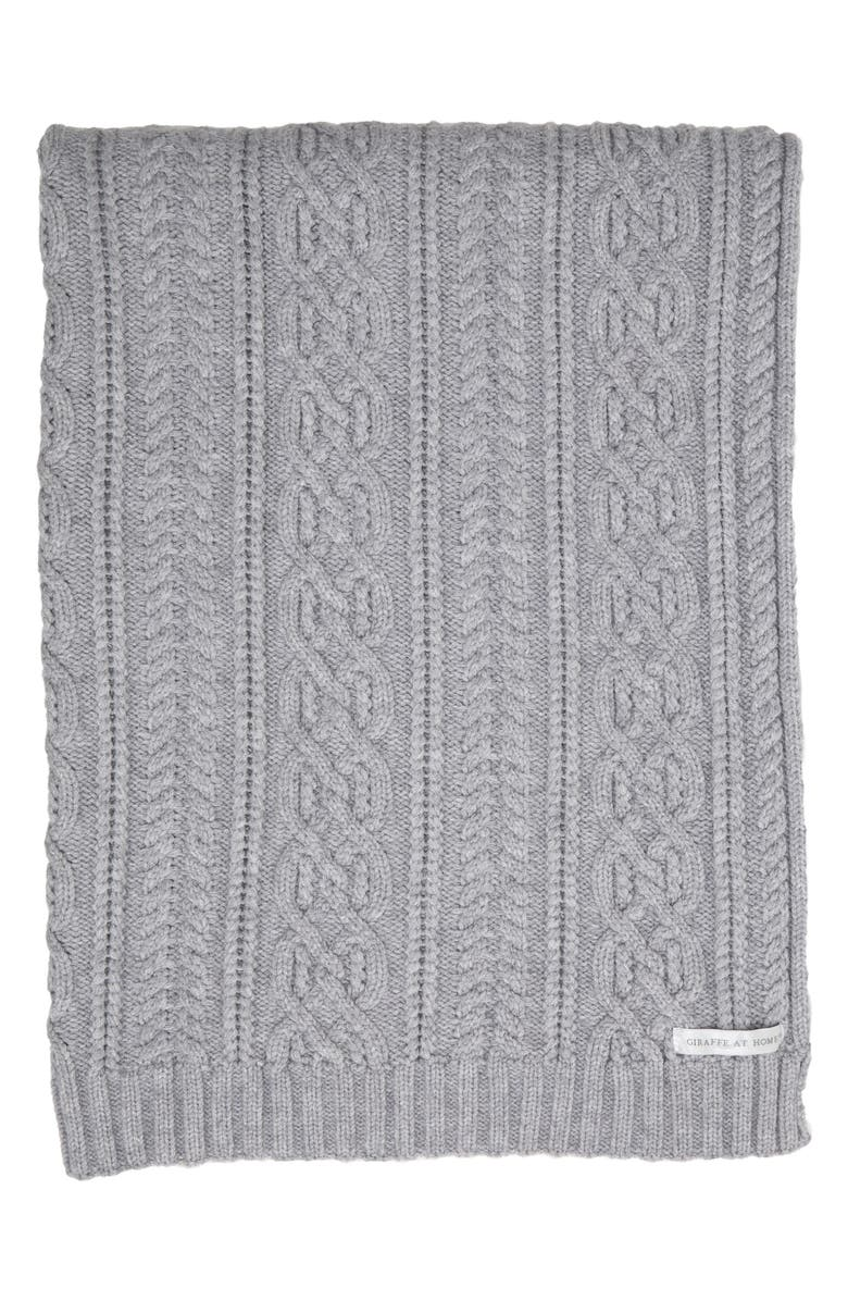 GIRAFFE AT HOME Crystal Cable Knit Throw Blanket, Main, color, SILVER