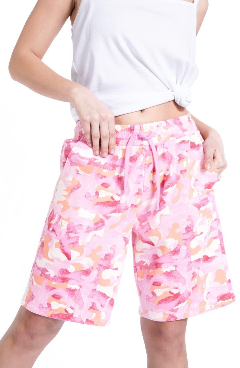 BP. + WILDFANG Fleece Sport Shorts, Main, color, PINK CAMO