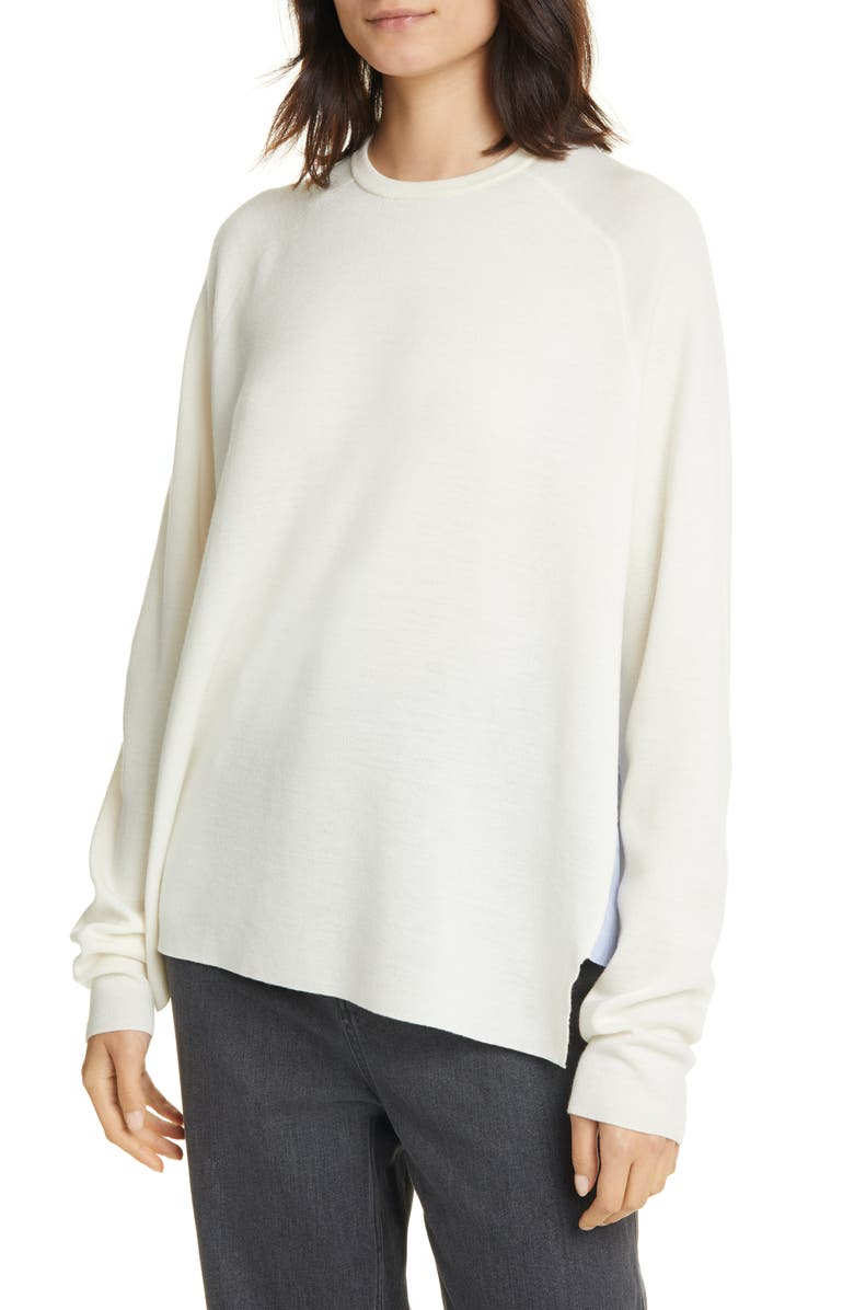 TIBI Mixed Media High/Low Sweater, Main, color, IVORY MULTI