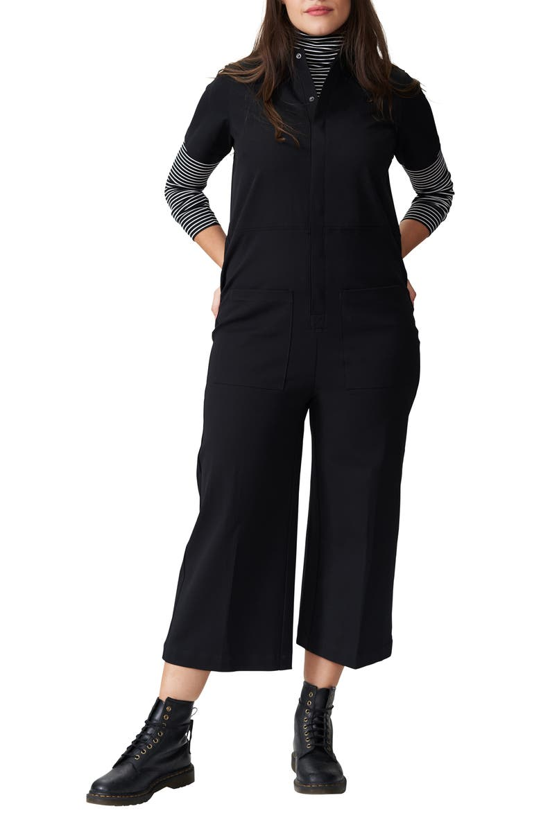 UNIVERSAL STANDARD Kate Twill Jumpsuit, Main, color, BLACK