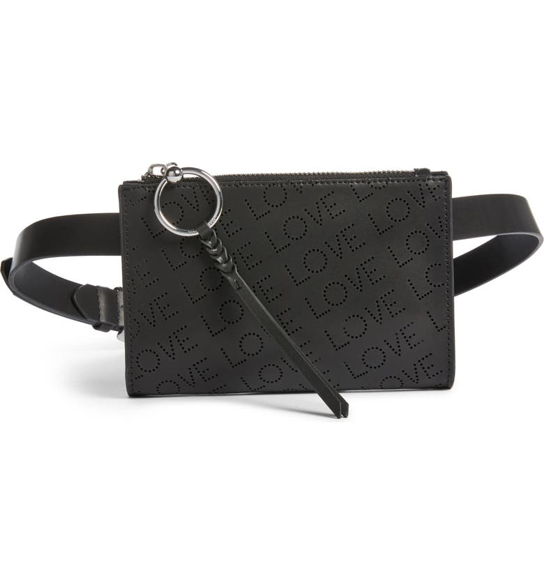 REBECCA MINKOFF Love Perforated Leather Belt Bag, Main, color, BLACK