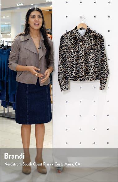 Leopard Print Side Zip Denim Jacket, sales video thumbnail