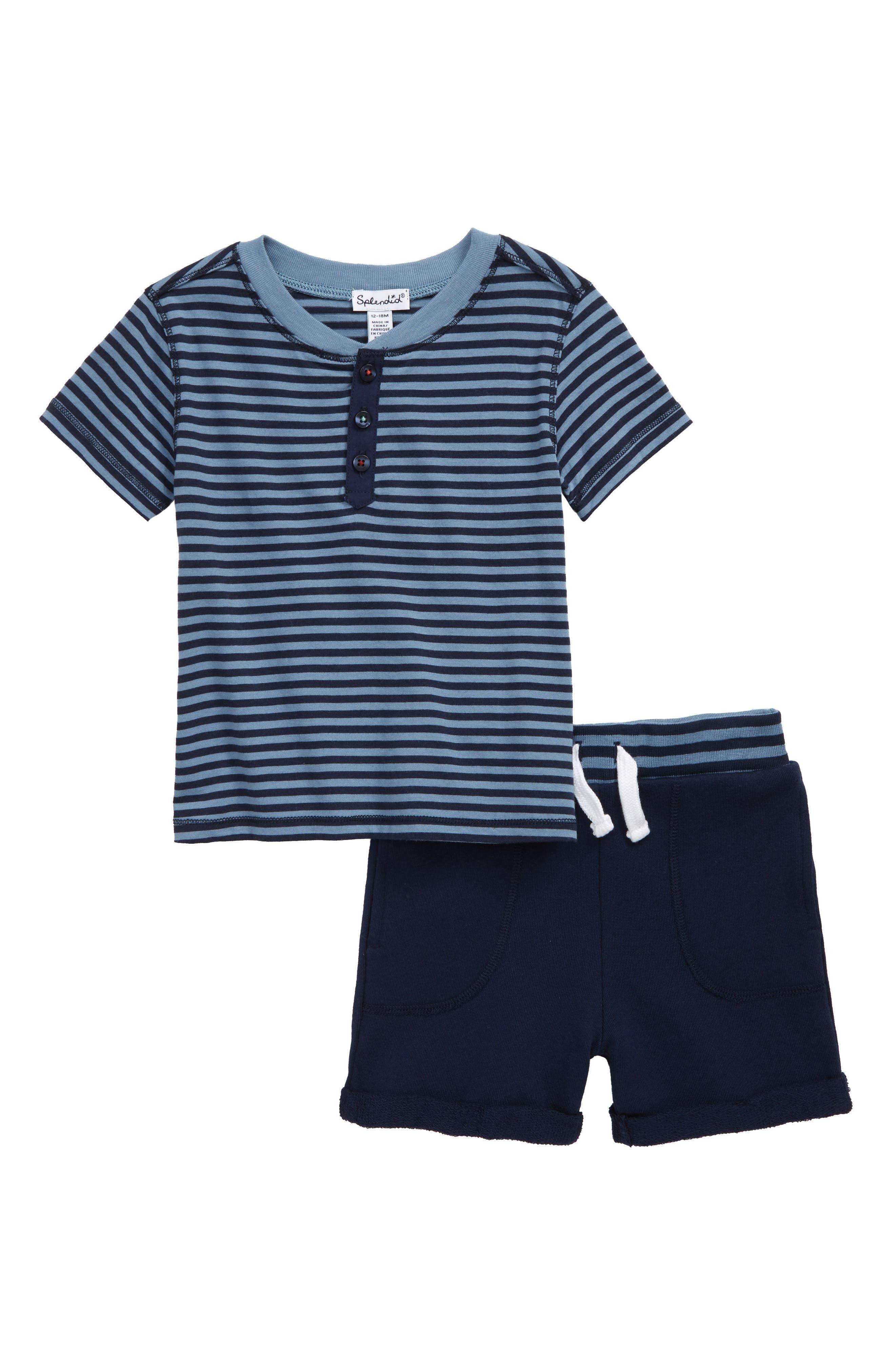 Image of Splendid Yarn Dye Stripe Henley & Shorts Set