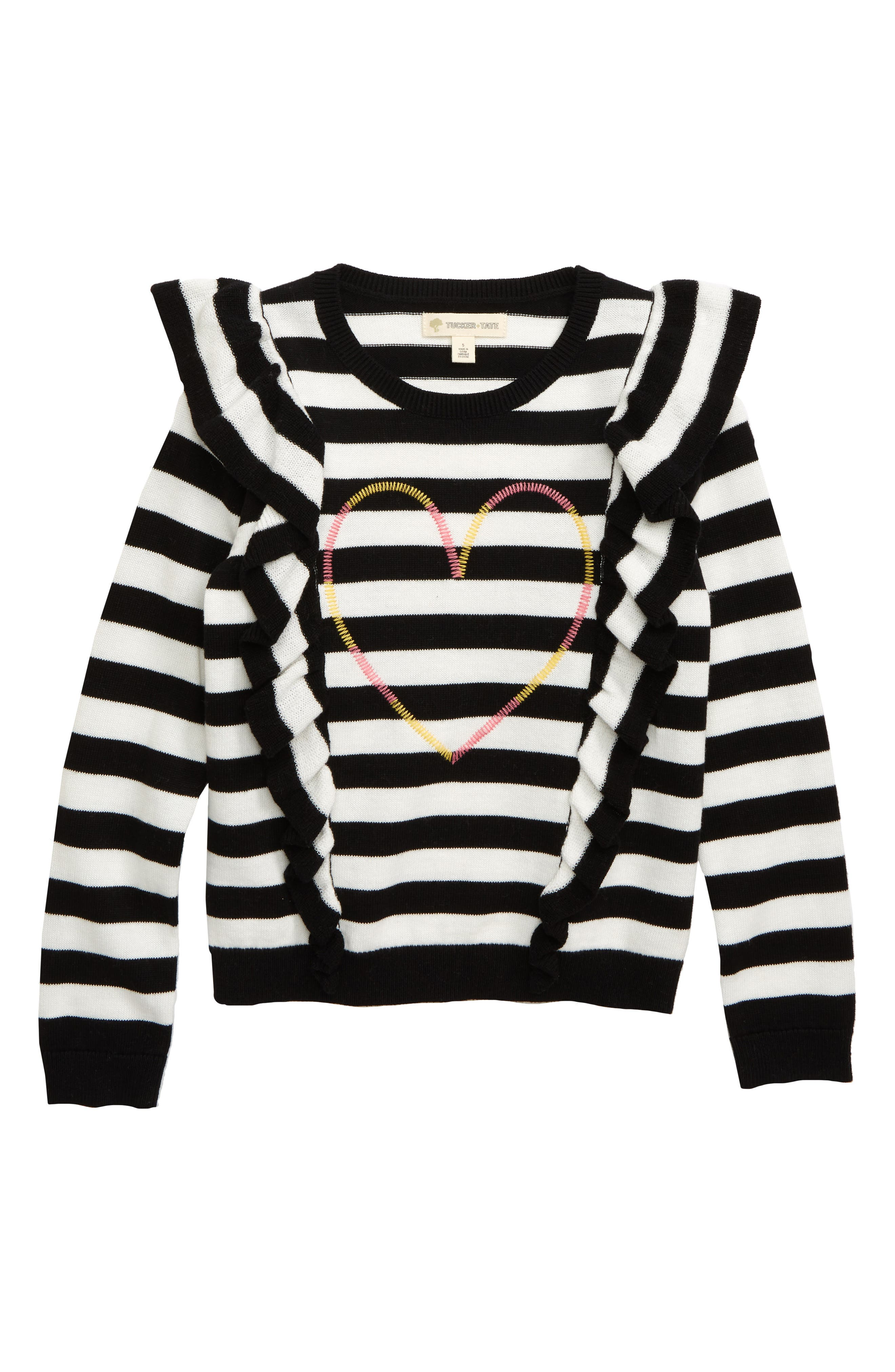 Toddler Girls Tucker  Tate Stripe Embroidered Heart Ruffle Sweater Size 2T  Black