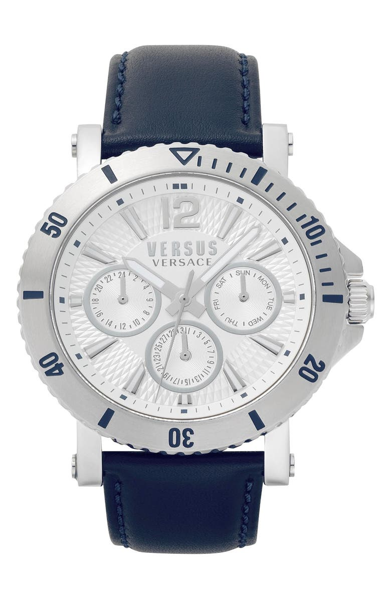 VERSUS VERSACE Steenberg Multifunction Leather Strap Watch, 45mm, Main, color, BLUE/ SILVER