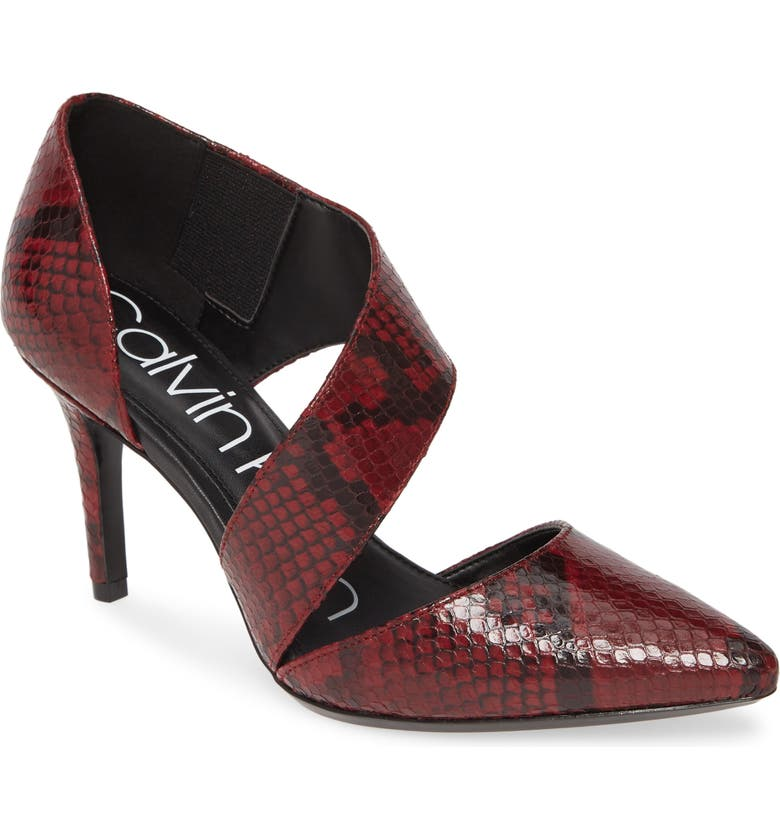 CALVIN KLEIN 'Gella' Pointy Toe Pump, Main, color, RED SNAKE PRINT LEATHER