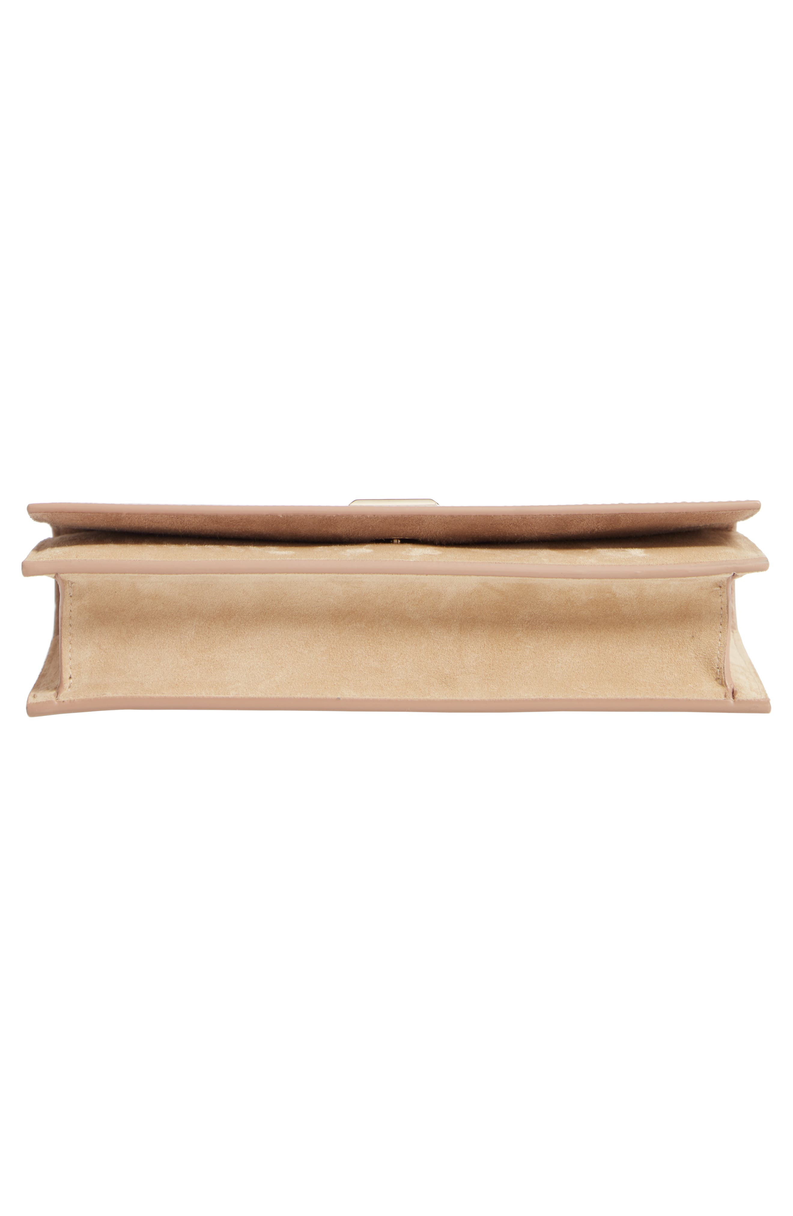 ,                             Lizzie Patent Leather & Suede Clutch,                             Alternate thumbnail 6, color,                             NUDE