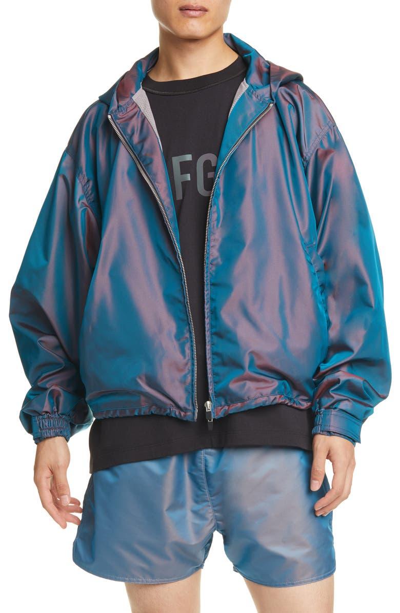 FEAR OF GOD Nylon Hooded Jacket, Main, color, BLUE IRIDESCENT