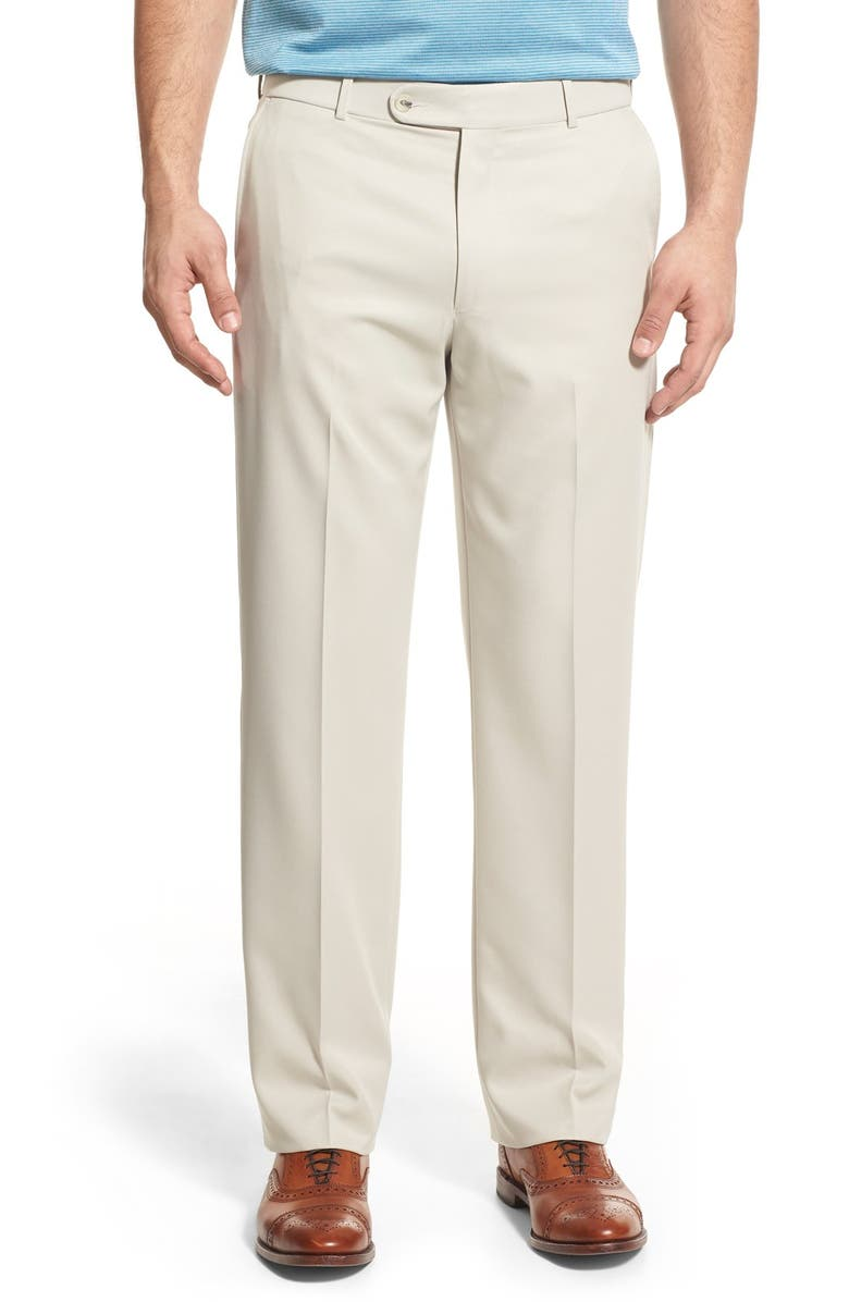 BALLIN Classic Fit Flat Front Dress Pants, Main, color, OYSTER