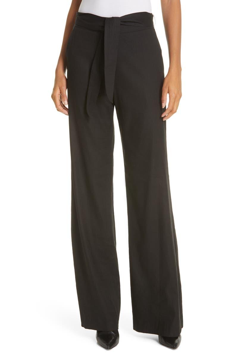VERONICA BEARD Melika Tie Waist Linen Blend Pants, Main, color, 001