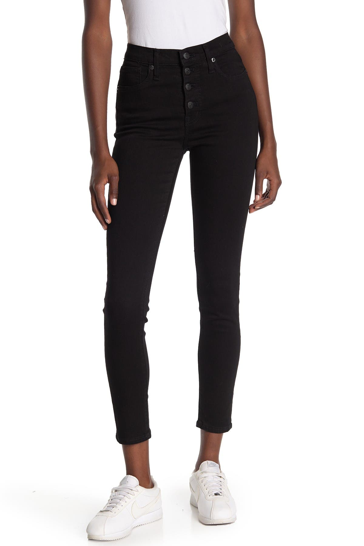 Image of Madewell Button Fly High Rise Skinny Jeans