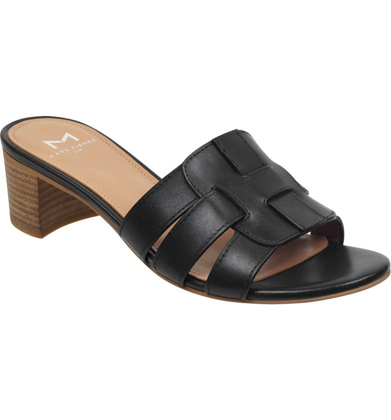 MARC FISHER LTD Debora Slide Sandal, Main, color, BLACK LEATHER