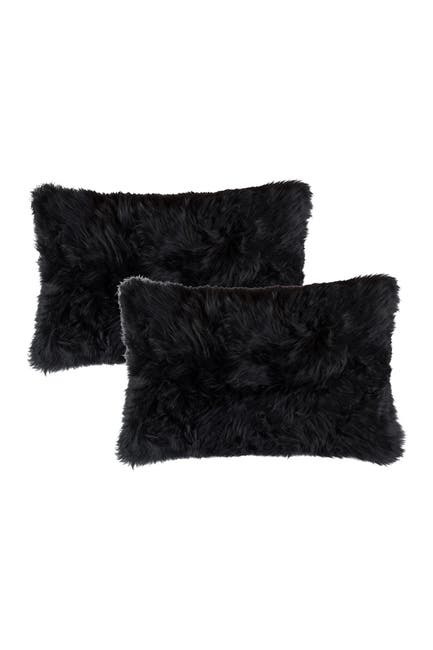 "Image of Natural New Zealand Genuine Sheepskin Shearling Pillow - Set of 2 - 12"" x 20"" - Black"