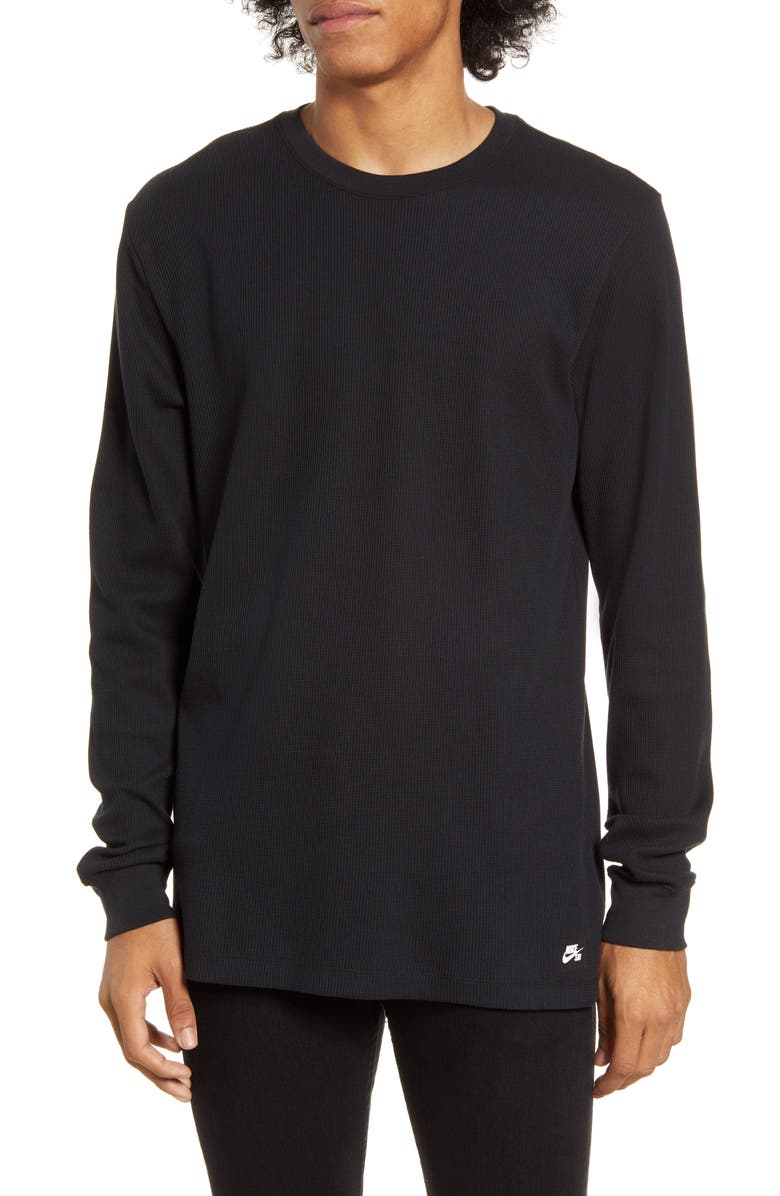 NIKE SB Dri-FIT Long Sleeve Thermal T-Shirt, Main, color, BLACK