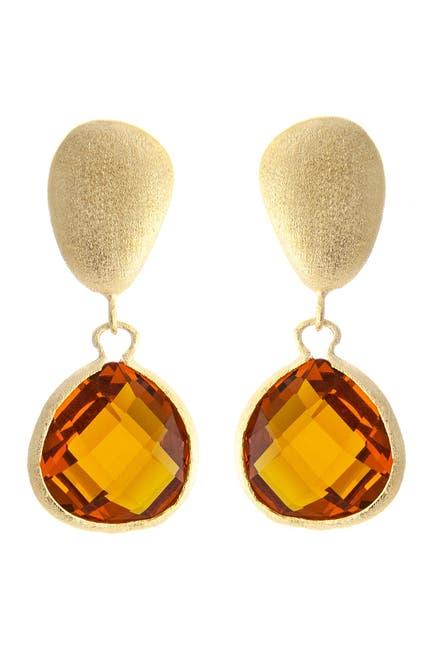 Image of Rivka Friedman 18K Gold Clad Graduated Faceted Amber Citrine Crystal Teardrop Earrings