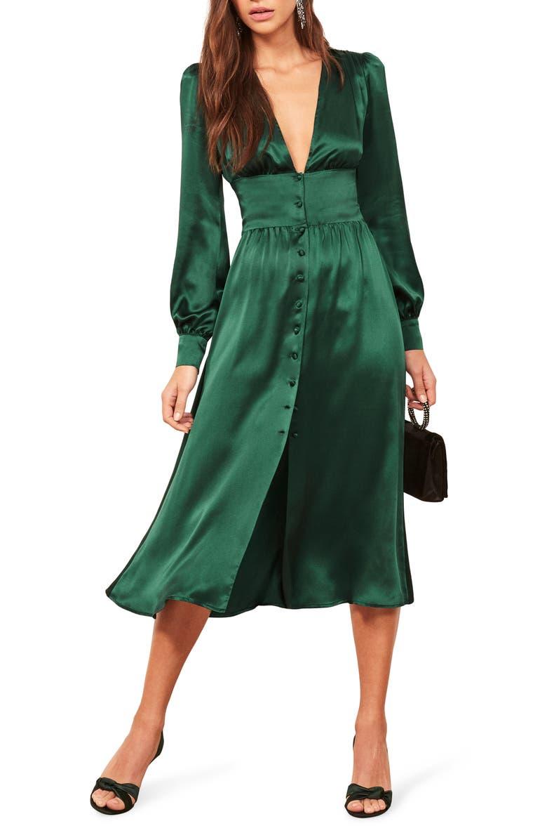 REFORMATION Nicola Silk Midi Dress, Main, color, EMERALD