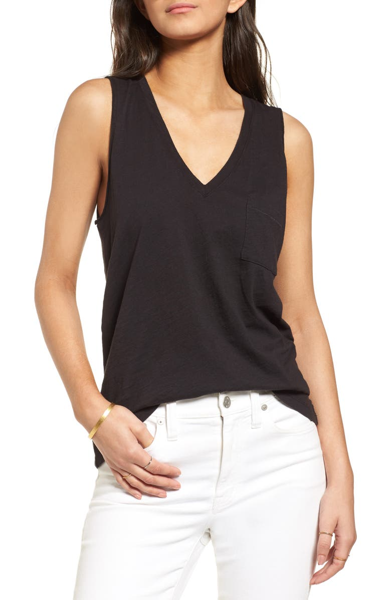 MADEWELL Whisper Cotton V-Neck Tank, Main, color, TRUE BLACK