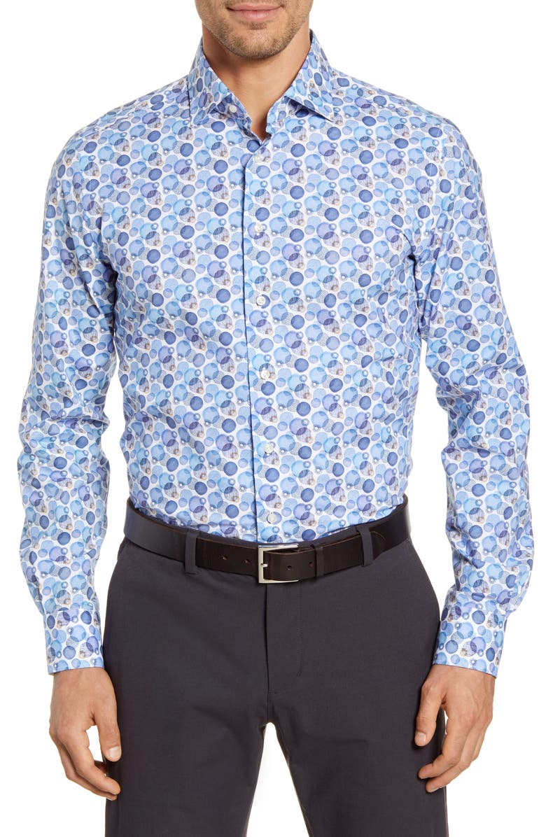 EMANUEL BERG Regular Fit Button-Up Shirt, Main, color, BLUE