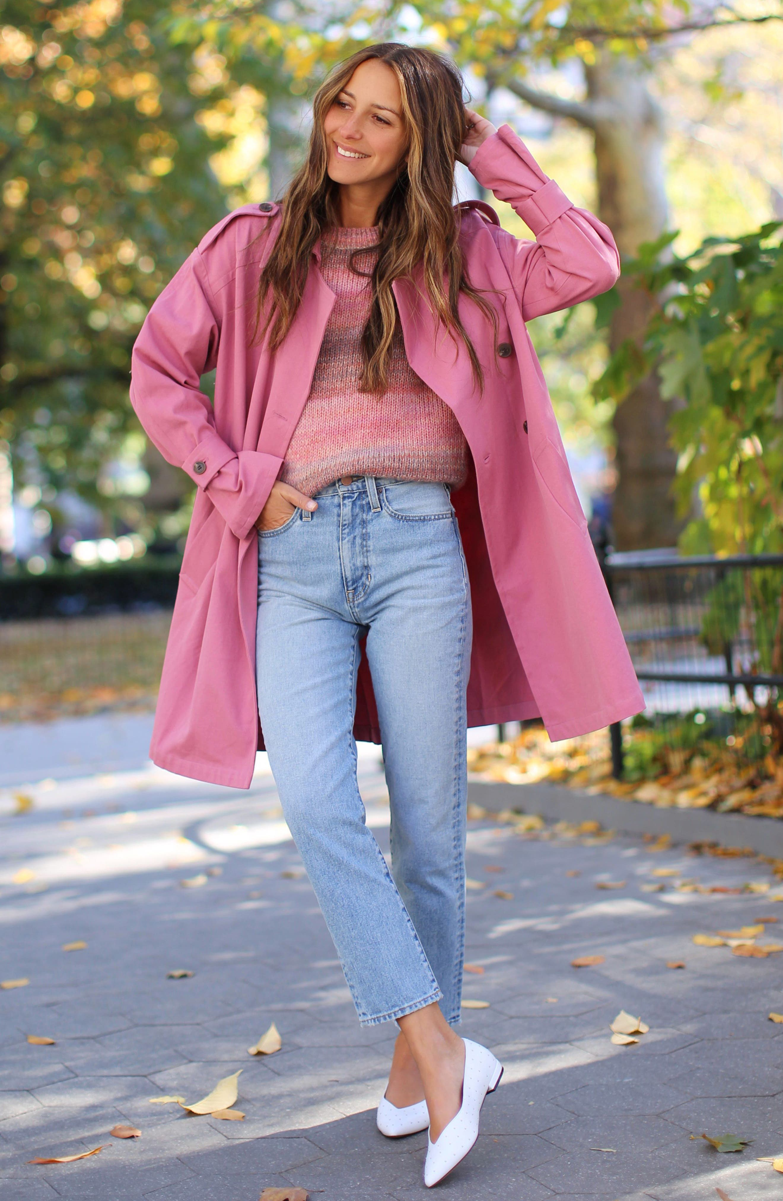 ,                             Easy Oversize Trench,                             Alternate thumbnail 2, color,                             PINK HEATHER
