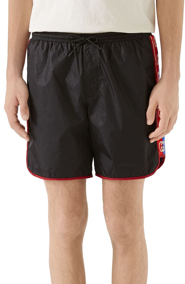 GUCCI Waterproof Nylon Swim Trunks, Main, color, BLACK/ MULTICOLOR
