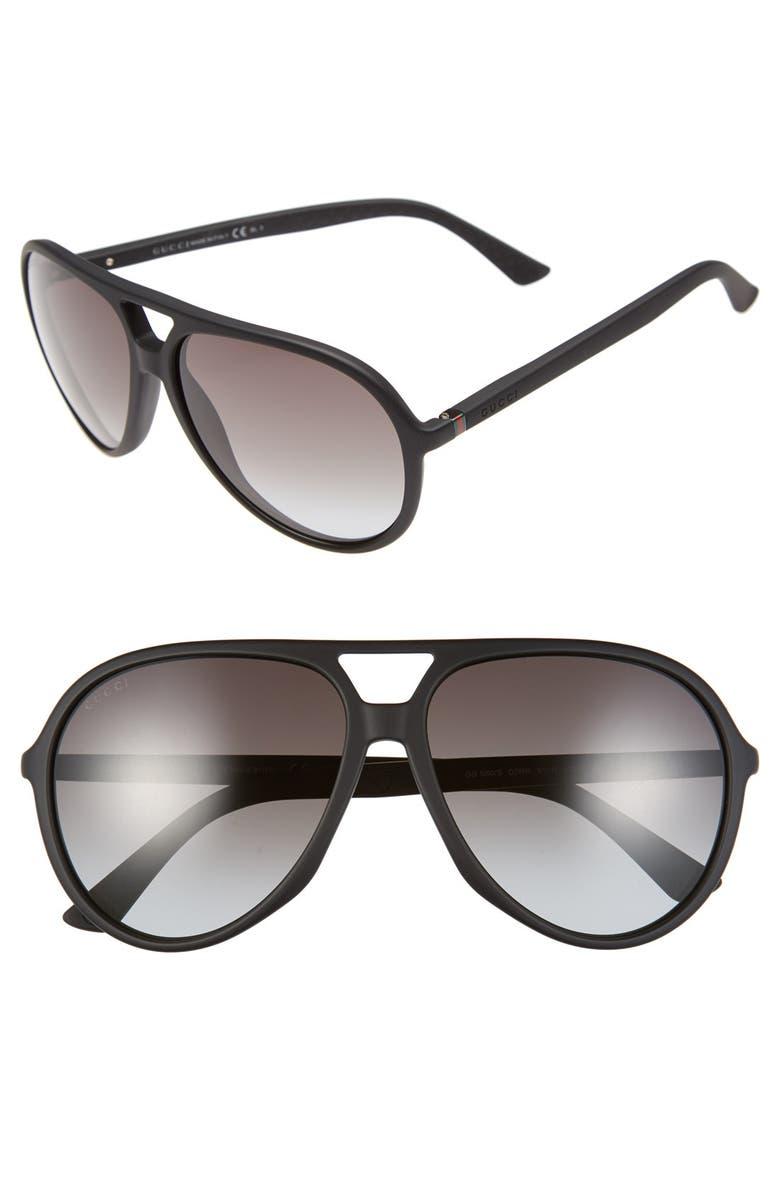 GUCCI 61mm Aviator Sunglasses, Main, color, 002