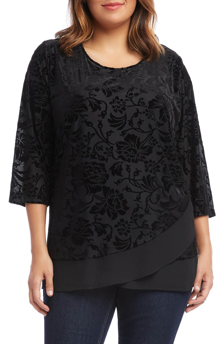 KAREN KANE Velvet Burnout Sheer Hem Top, Main, color, 001