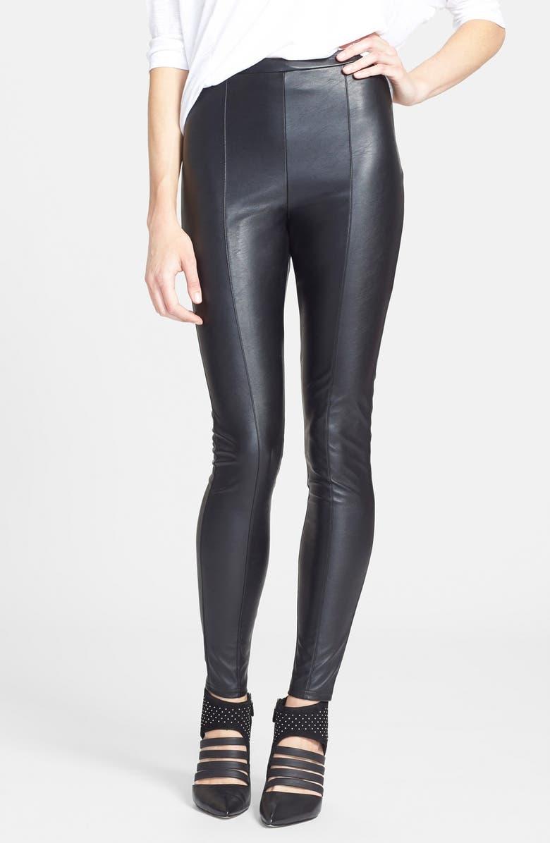 TILDON High Waist Faux Leather Leggings, Main, color, 001