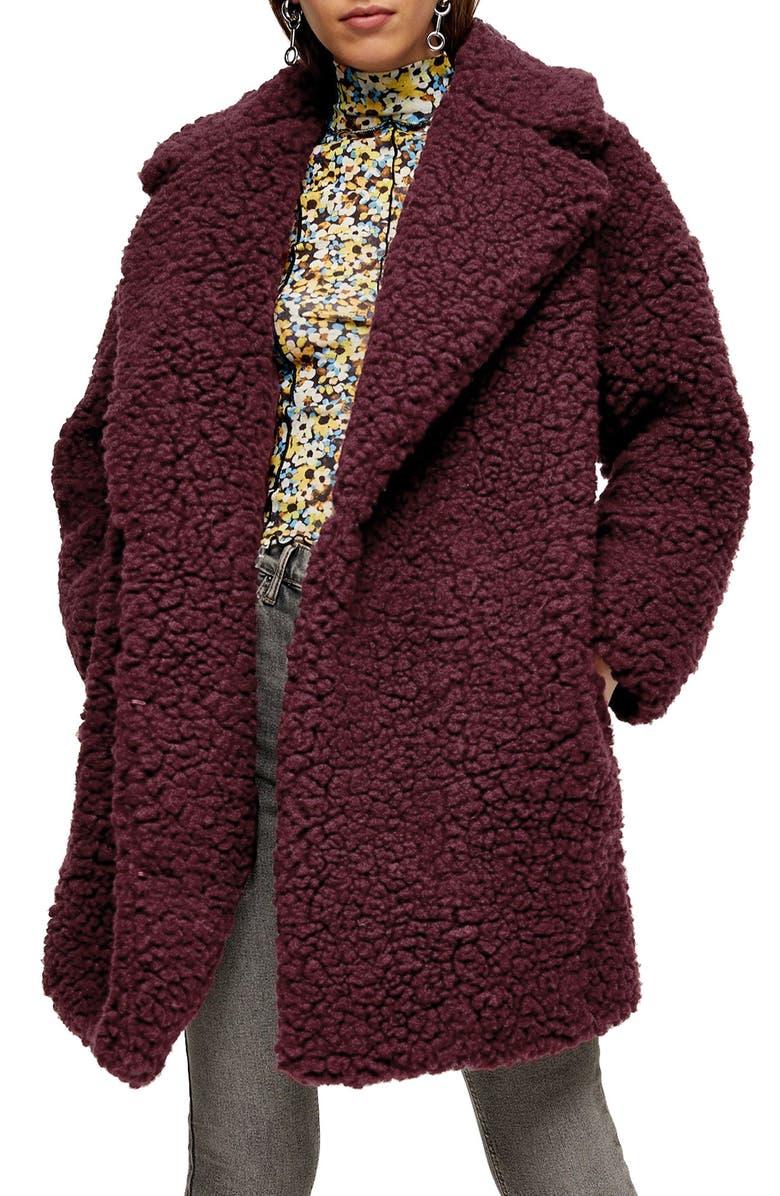 TOPSHOP Frenchy Big Borg Coat, Main, color, BURGUNDY