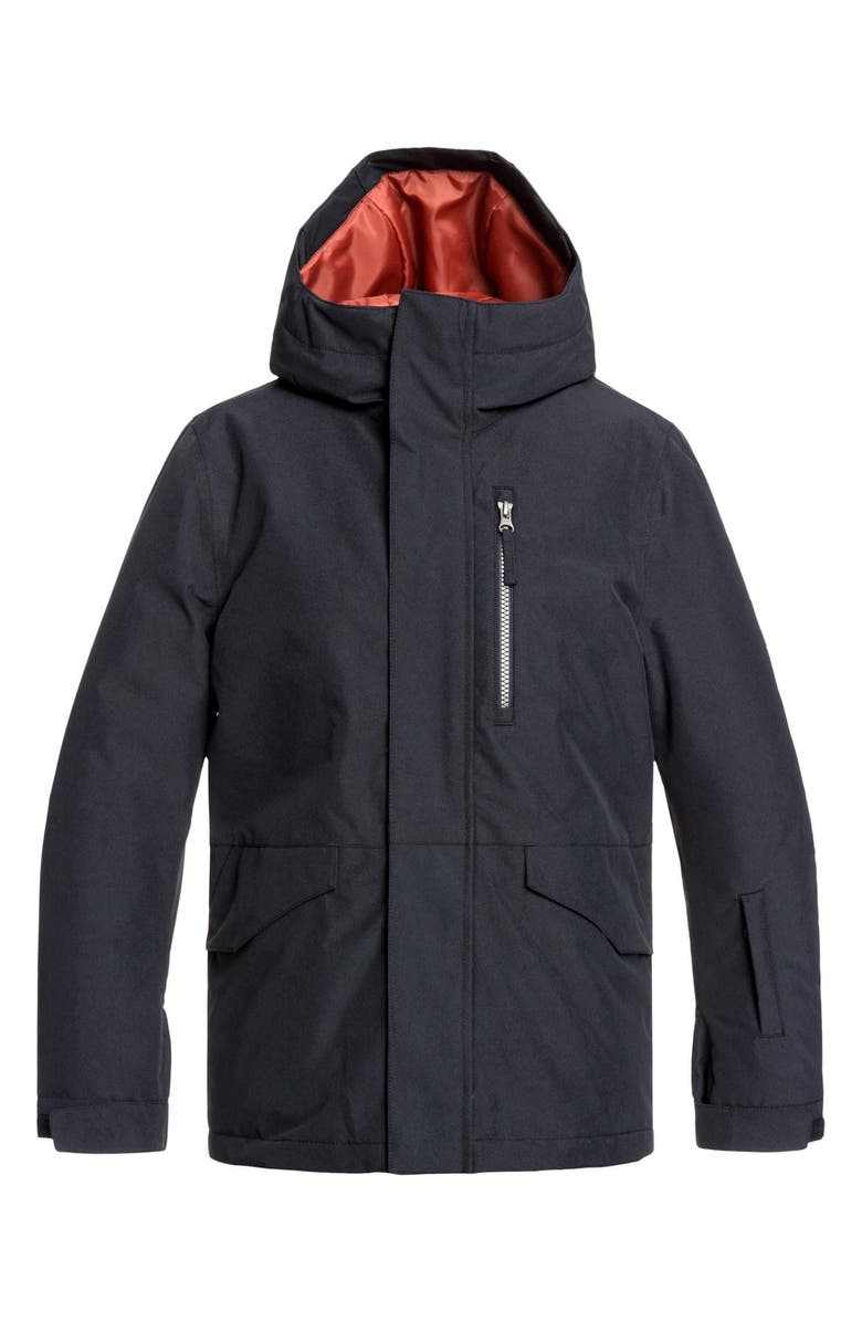 QUIKSILVER Mission Hooded Snow Jacket, Main, color, BLACK