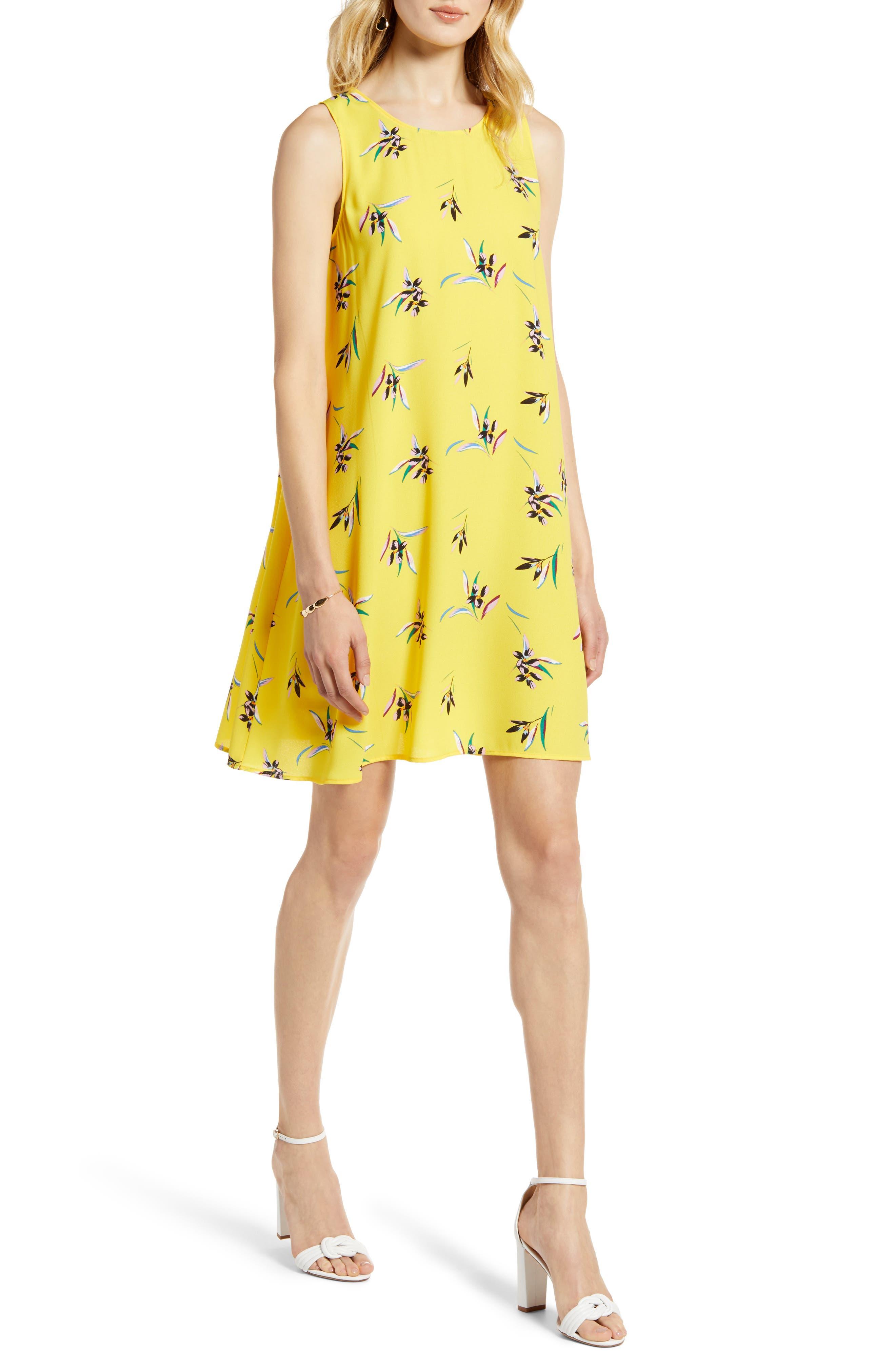 Petite Halogen A-Line Dress, Yellow