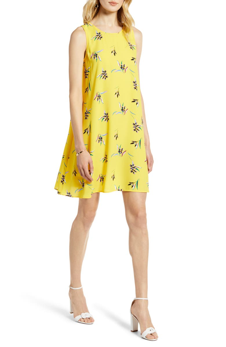 HALOGEN<SUP>®</SUP> A-Line Dress, Main, color, YELLOW FLORAL