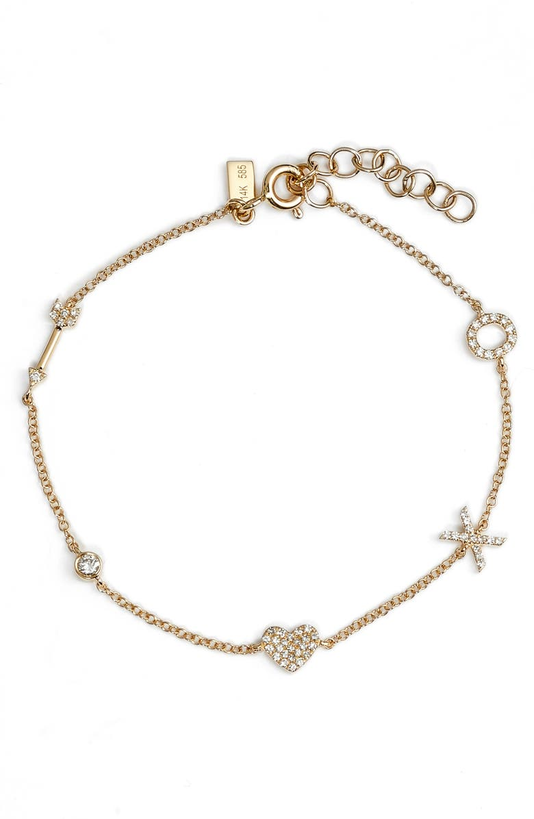 EF COLLECTION Diamond Sweetheart Charm Bracelet, Main, color, 710