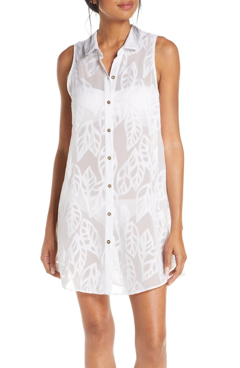 LILLY PULITZER<SUP>®</SUP> Natalie Cover-Up Sleeveless Shirtdress, Main, color, RESORT WHITE VERTICAL