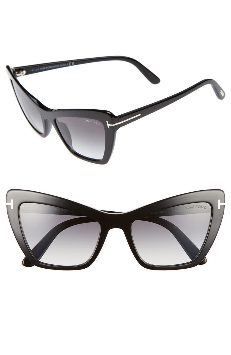 TOM FORD Valesca 55mm Cat Eye Sunglasses, Main, color, SHINY BLACK/ GRADIENT SMOKE