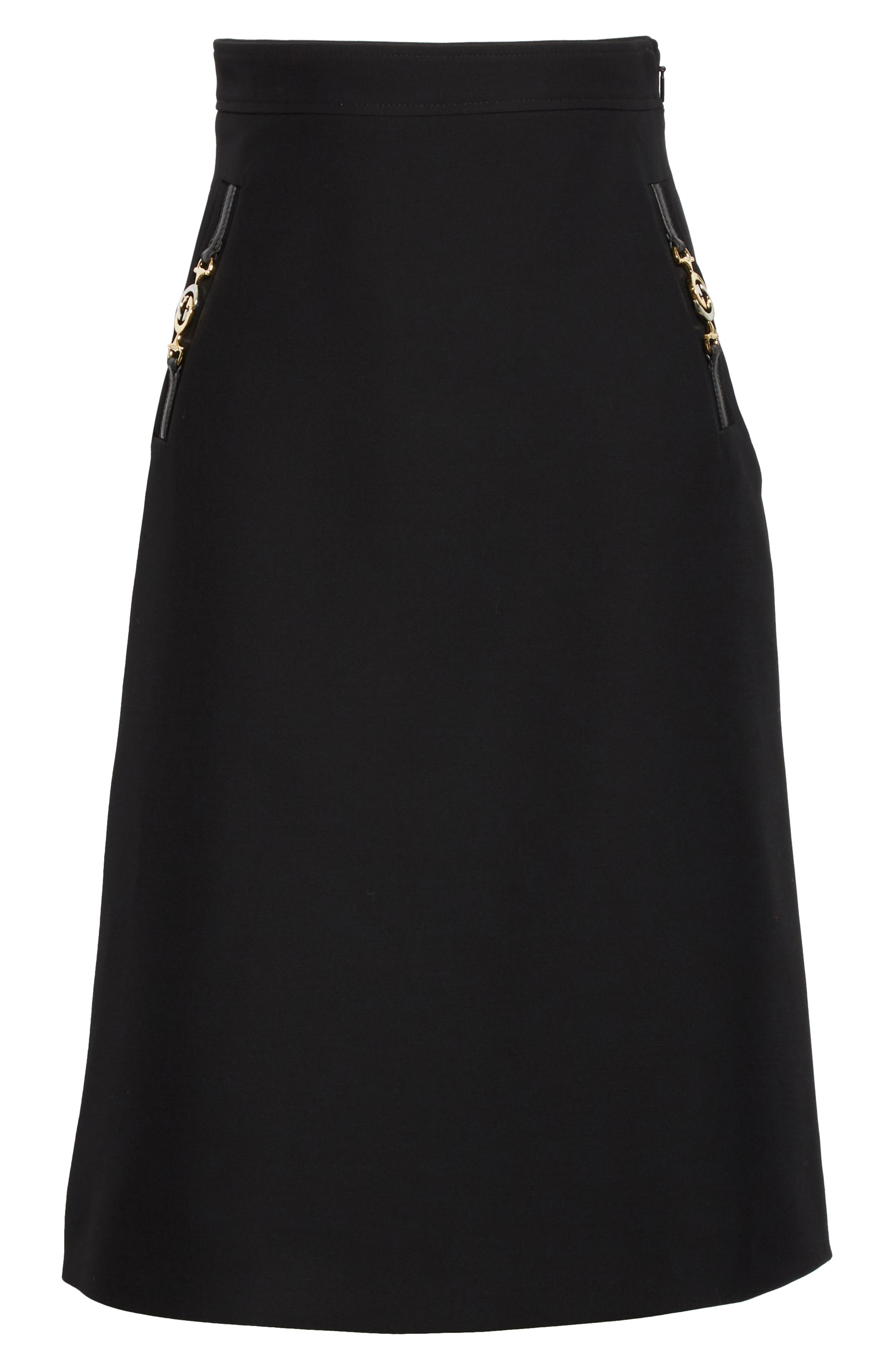 Gucci Skirts Silk & Wool Cady Crepe A-Line Skirt