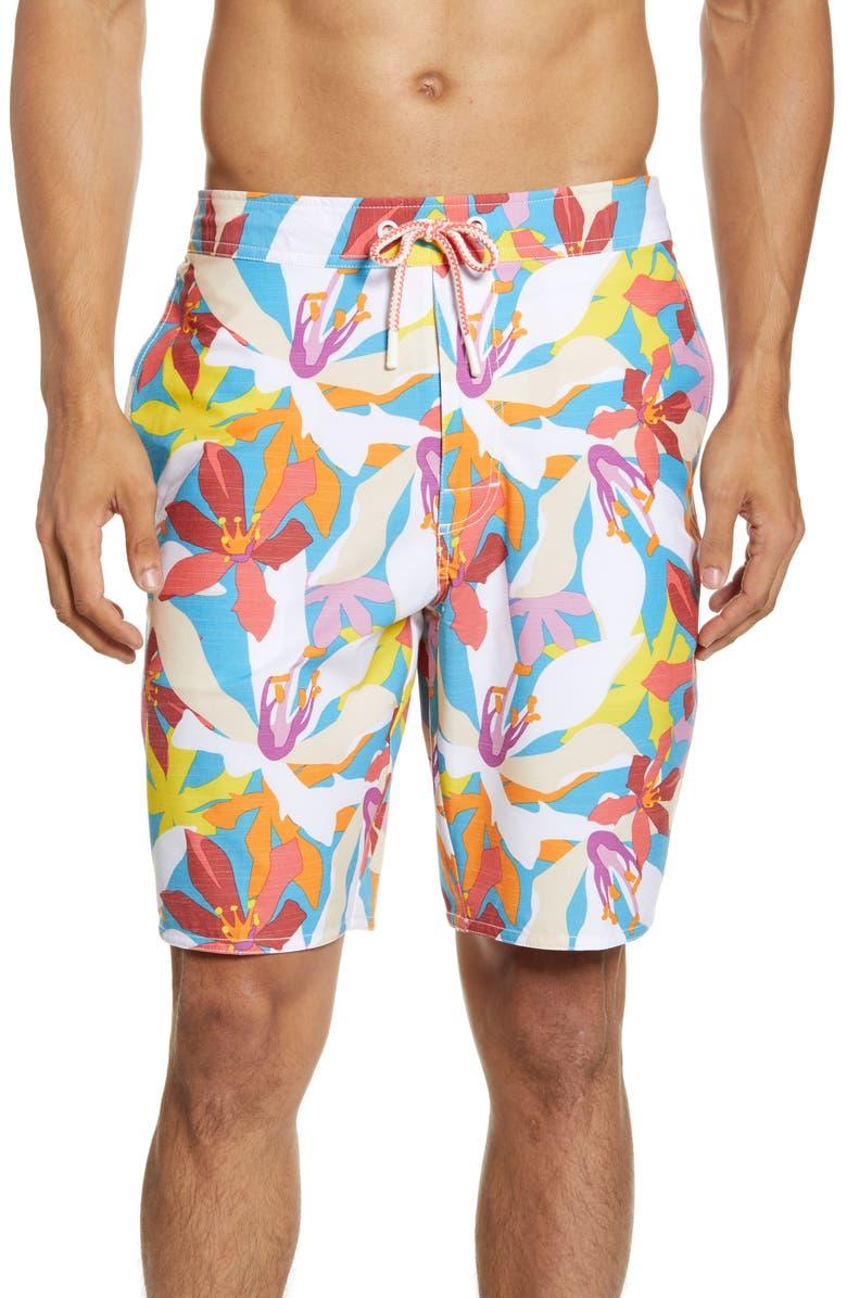 JOHNNIE-O Coco Bay Floral Swim Trunks, Main, color, PRIMROSE