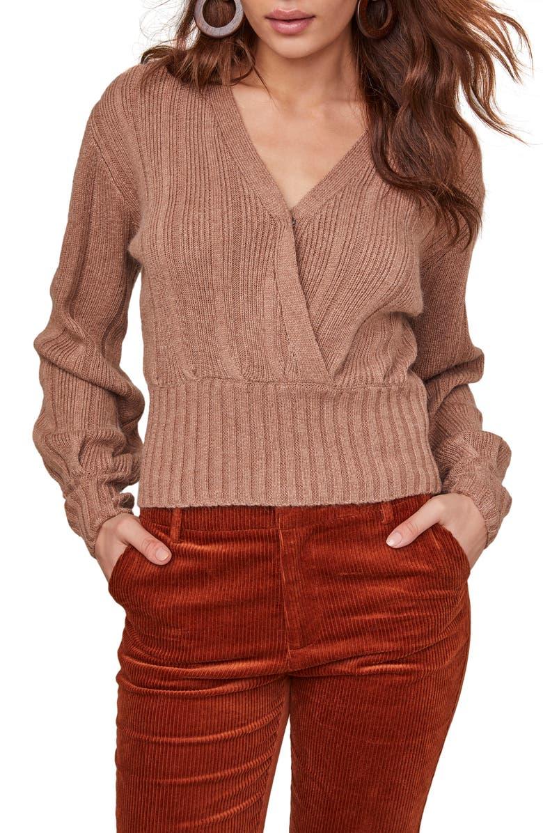 ASTR THE LABEL Evie Surplice Cotton Blend Sweater, Main, color, CAMEL