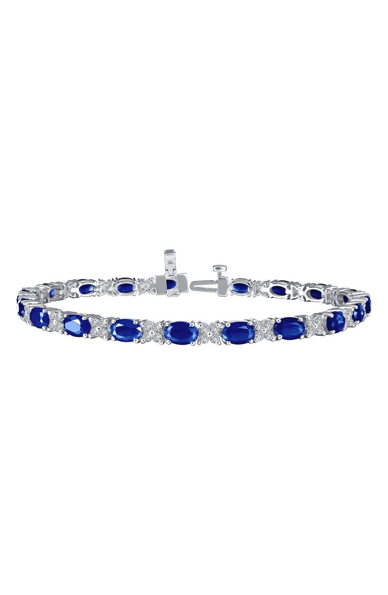 LAFONN Simulated Diamond & Sapphire Tennis Bracelet, Main, color, 400