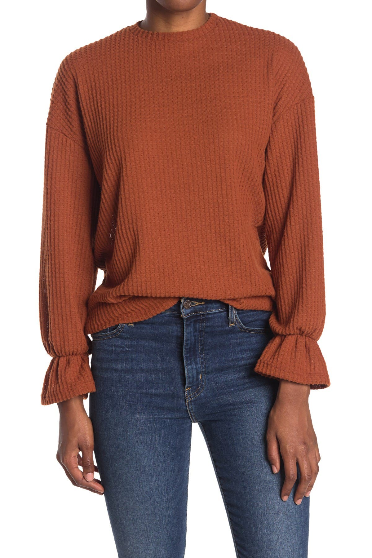 Image of Velvet Torch Waffle Knit Bell Cuff Sweater