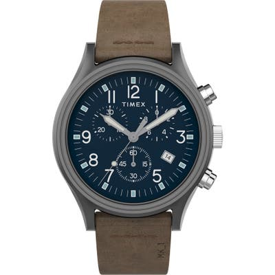 Timex Mk1 Chronograph Leather Strap Watch, 42Mm