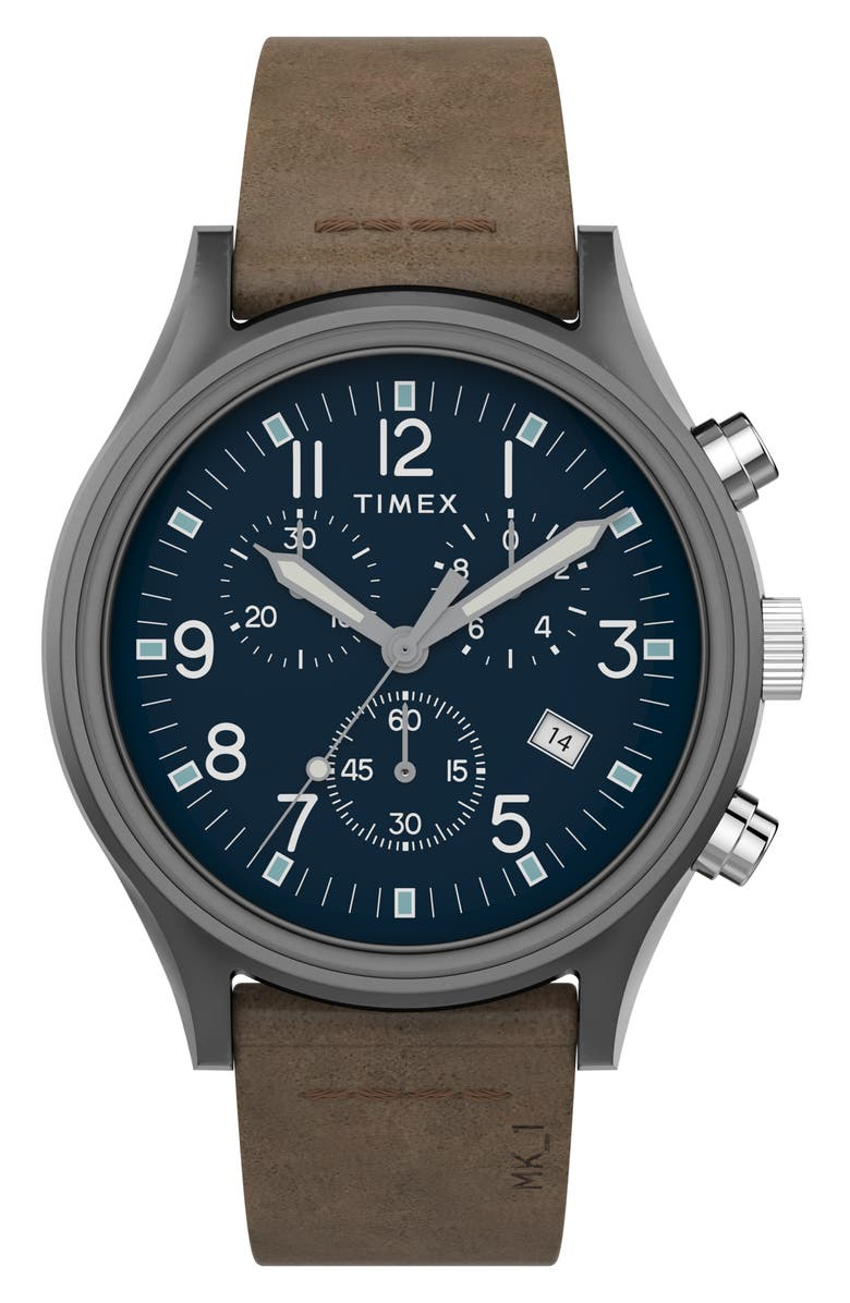TIMEX<SUP>®</SUP> MK1 Chronograph Leather Strap Watch, 42mm, Main, color, BROWN/ BLUE/ GUNMETAL